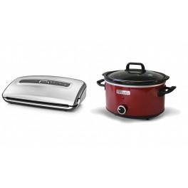 Zestaw Zgrzewarka próżniowa FoodSaver FFS016X + Wolnowar Crock-Pot  3,5l czerwony